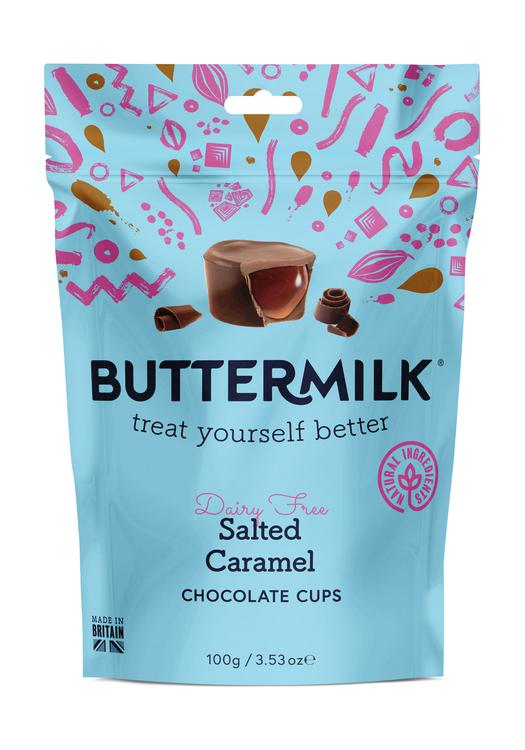 Buttermilk Dairy Free Salted Caramel Chocolate Cups 100g