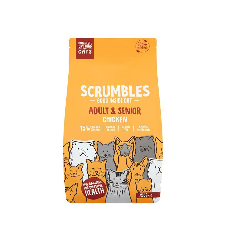 Scrumbles - Complete Dry Cat Food for Adult & Senior - Chicken 750g
